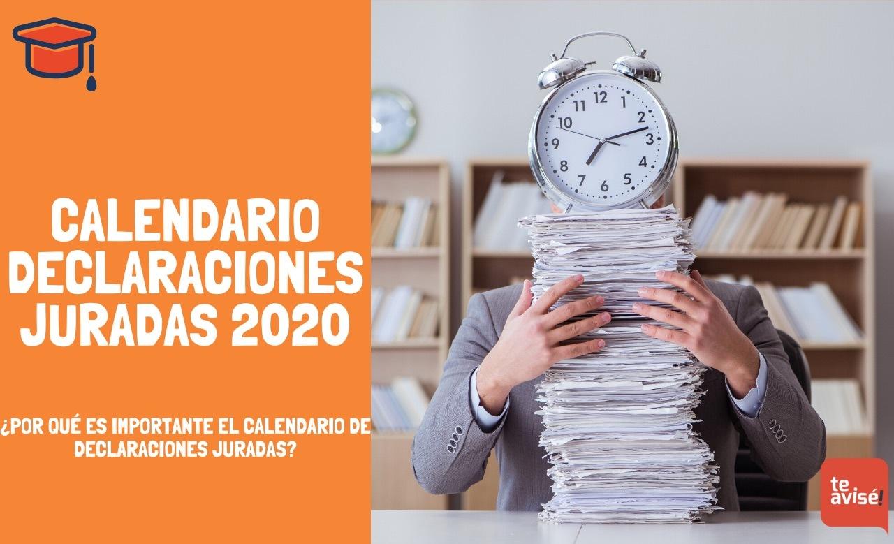 Calendario Declaraciones Juradas 2020